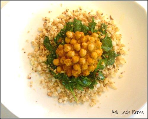chana masala over cauliflower rice