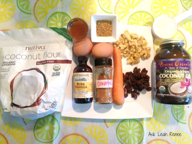 ingredients, carrot muffins